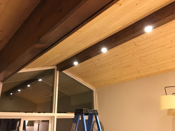 a frame attic bedroom ideas - Pine Faux Beam with Recessed Lighting
